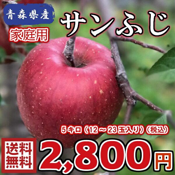 【送料無料】青森県産 サンふじ 家庭用 5Kg(約5キロ)  晩生種りんご 食品 果物 フルーツ お取り寄せグルメ