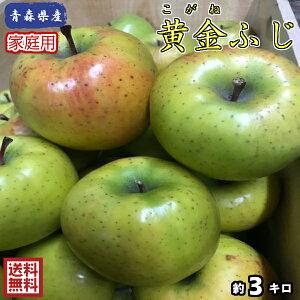 【送料無料】数量限定!青森県産 黄金ふじ 家庭用 3kg(約3キロ)  晩生種りんご 食品 果物 フルーツ お取り寄せグルメ