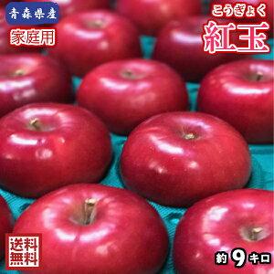 【送料無料】数量限定!青森県産 紅玉 家庭用 9kg(約9キロ)  中生種りんご 食品 果物 フルーツ お取り寄せグルメ