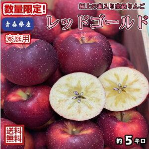 奇跡の入荷!【送料無料】青森県産 レッドゴールド 家庭用 5kg(約5キロ) 中生種りんご 食品 果物 フルーツ お取り寄せグルメ