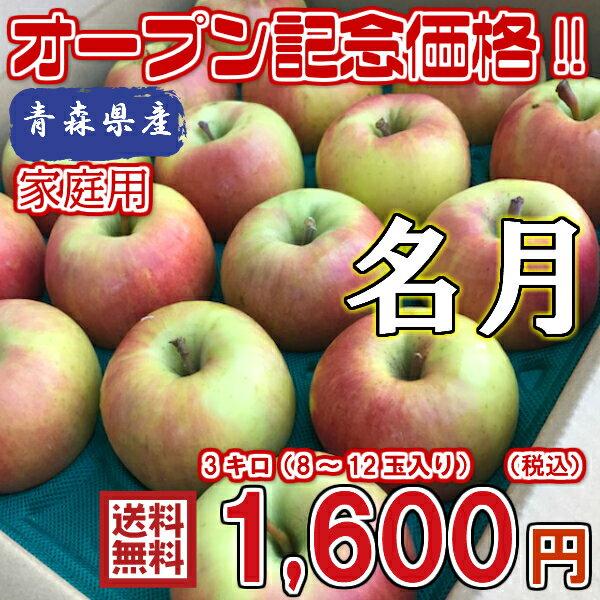 【送料無料】お試し品! 青森県産 名月 家庭用 3Kg(約3キロ)  中生種りんご 食品 果物 フルーツ お取り寄せグルメ