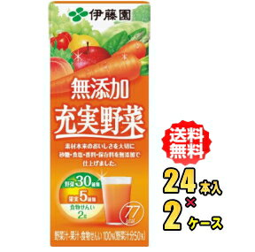 伊藤園 無添加 充実野菜 200ml紙パック×24本入×2ケース(48本)