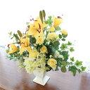 造花 ビタミンカラーのユリとバラのアレンジ シルクフラワー CT触媒
