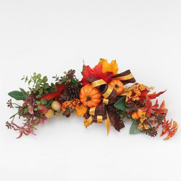 造花 ハロウィンスワッグ かぼちゃ パンプキン 松ぼっくり 壁掛け シルクフラワー CT触媒