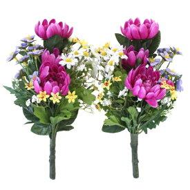 造花 仏花 菊とダブルカラーのデージーの小花束一対 CT触媒 造花 シルクフラワー お彼岸 お盆 お仏壇 仏花 お墓 花 お供え
