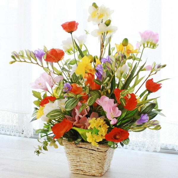 造花 ポピーや菜の花のボリュームのあるアレンジ シルクフラワー CT触媒
