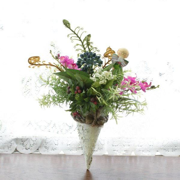 造花 敬老のお祝いにベリーとミニ胡蝶蘭の壁掛け 敬老の日 CT触媒 シルクフラワー