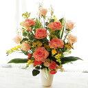 造花 大きなバラの高級感とナチュラル感あふれるフラワーアレンジ シルクフラワー CT触媒