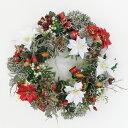 造花 赤白ミックスのゴールドクリスマスリース CT触媒 クリスマス
