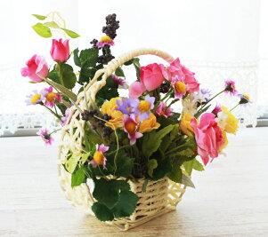造花ガーベラとバラのかごアレンジCT触媒