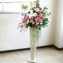 造花 カサブランカとピンクのバラの豪華なスタンドアレンジ ym2 CT触媒 シルクフラワー