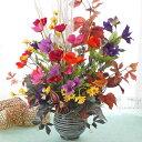 造花 すすきとコスモスと桔梗の秋のアレンジ シルクフラワー CT触媒