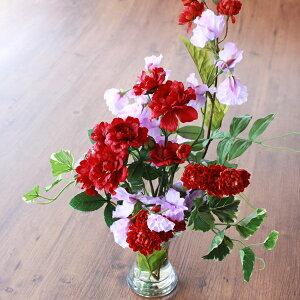 造花 真赤なバラとソフトなスイートピーのマジカルウォーターのアレンジ シルクフラワー CT触媒