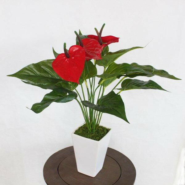 造花 アンスリウムの鉢植えM50〔BP1416〕 観葉植物 CT触媒