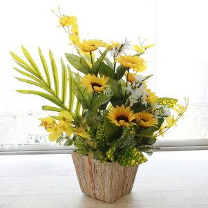 造花ひまわりとオンシジウムのアレンジr造花シルクフラワーヒマワリ向日葵フェイクフラワーCT触媒