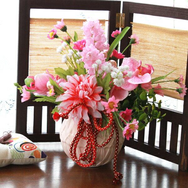 造花 胡蝶蘭とデージーのてまりの花器のアレンジ 風水アレンジ〔北〕 シルクフラワー CT触媒