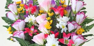 造花仏花グラジオラスとトルコキキョウの花束一対CT触媒造花シルクフラワーお彼岸お盆お仏壇仏花お墓花お供え
