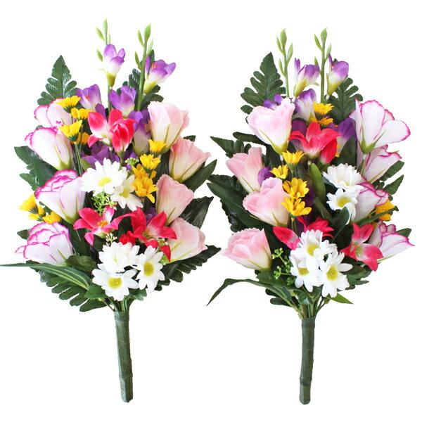 造花 仏花 グラジオラスとトルコキキョウの花束一対 CT触媒 造花 シルクフラワー お彼岸 お盆 お仏壇 仏花 お墓 花 お供え