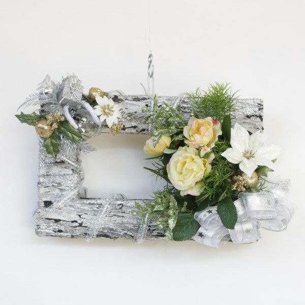 造花 シルバーフレームに飾ったバラやジャスミンのクリスマスアレンジ[ミニイーゼル付] CT触媒