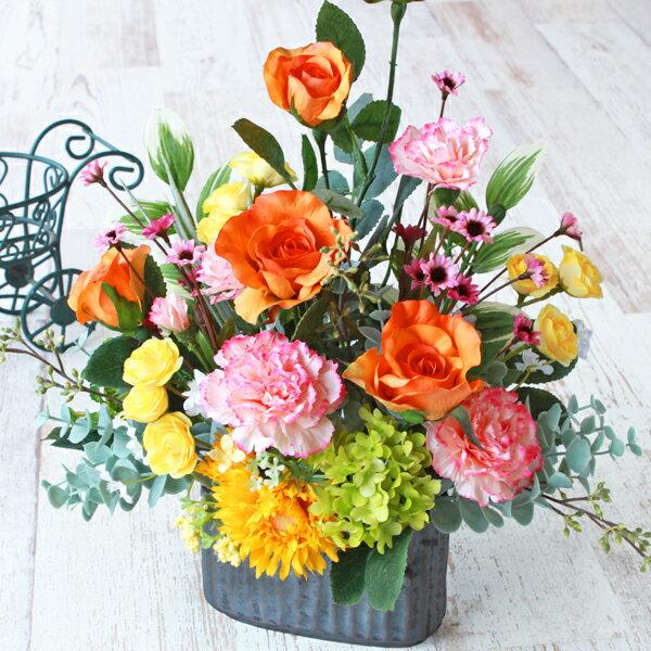 造花 米寿のお祝いにビタミンカラーのユリとバラのますます元気なアレンジ 敬老の日 シルクフラワー CT触媒