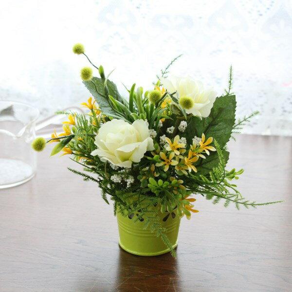 造花 ミントグリーンのバラの爽やかなプチアレンジ シルクフラワー CT触媒