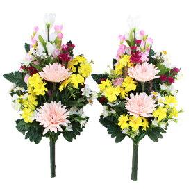 造花 仏花 ガーベラとリリーの花束一対 CT触媒 シルクフラワー お彼岸 お盆 お仏壇 お墓 お供え