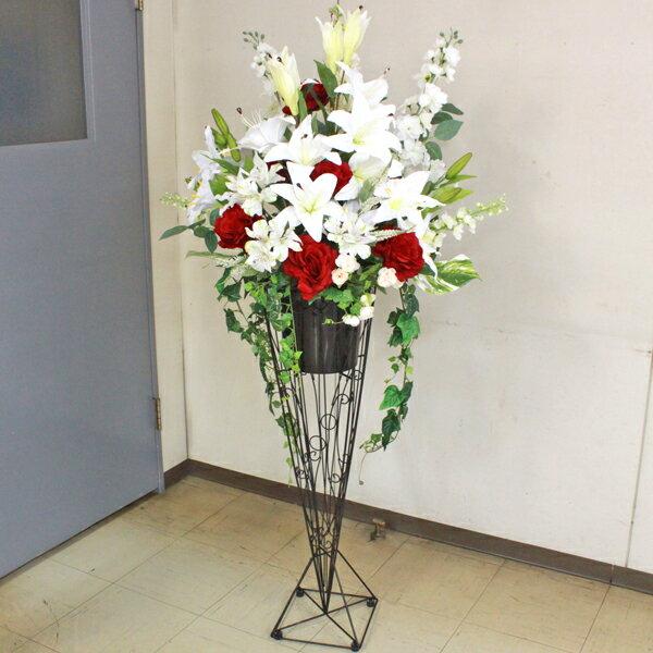 造花 T様リクエストのカサブランカとローズの豪華なスタンド付きアレンジ シルクフラワー CT触媒