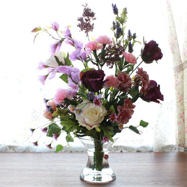 造花 パープルカラーのバラとカーネーションのマジカルウォーターアレンジ シルクフラワー CT触媒