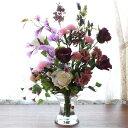 【CT触媒】パープルカラーのバラとカーネーションのマジカルウォーターアレンジ【母の日対応可】シルクフラワー 造花…
