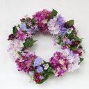造花 ミニローズと紫陽花のフラワーリース 造花 シルクフラワー あじさい アジサイ バラ CT触媒