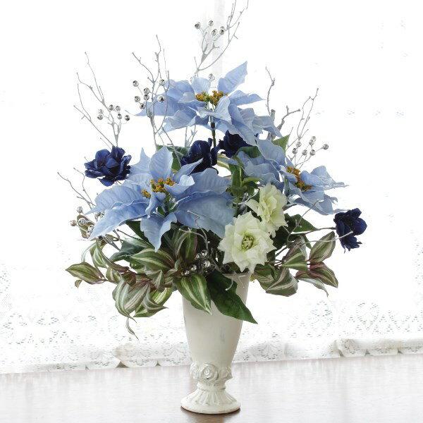 造花 ブルーのポインセチアとクレマチスのアレンジ クリスマス ツリー造花 シルクフラワー CT触媒