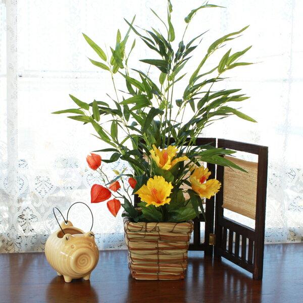 造花 笹とハイビスカスのアレンジ 七夕 観葉植物 シルクフラワー CT触媒