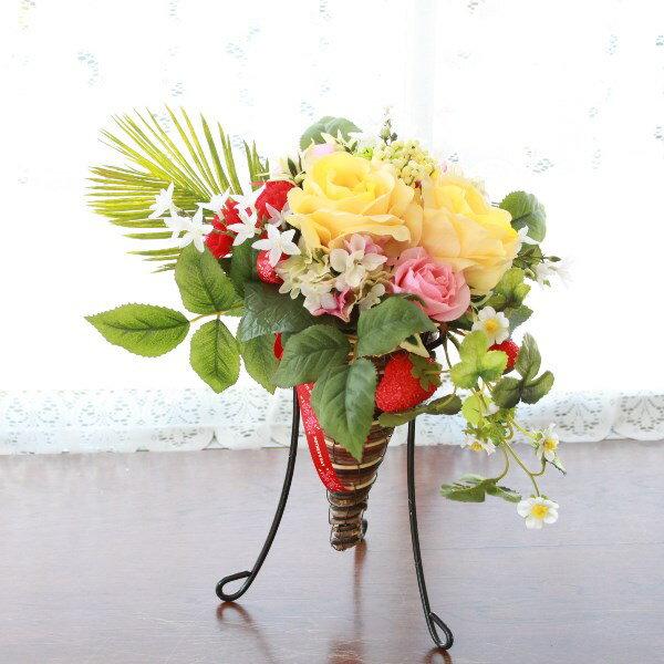 造花 バラや紫陽花の華やかなスタンド型アレンジ シルクフラワー 母の日 【キャンセル・返品不可】 CT触媒