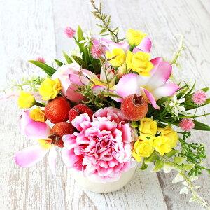 造花 子宝の誕生を願う プルメリアやミニローズとざくろの明るいアレンジ 子宝祈願 シルクフラワー CT触媒