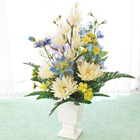 造花 仏花 デルフィニウムとニゲラのアレンジ CT触媒 造花 シルクフラワー お彼岸 お盆 お仏壇 仏花 お墓 花 お供え