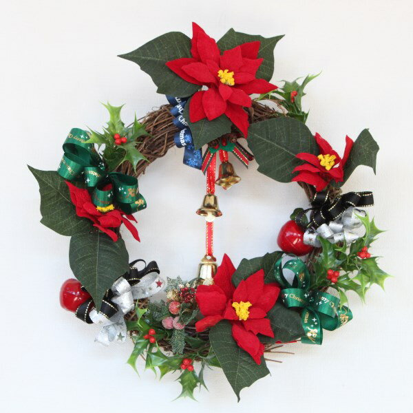 造花 ポインセチアとクリスマスベルのリース クリスマス CT触媒