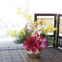 造花 ダリアやカトレアの可愛らしいお正月アレンジ しめ縄 しめ飾り 玄関飾り シルクフラワーr CT触媒