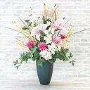 造花 ピンクのカサブランカとカーネーションが華やかなアレンジr シルクフラワー 造花 CT触媒