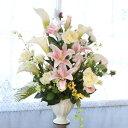 造花 カサブランカとカラーの華やかなアレンジ シルクフラワーr CT触媒