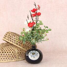 造花 手描き陶器に入った梅と笹竹の和風プチアレンジ シルクフラワー CT触媒