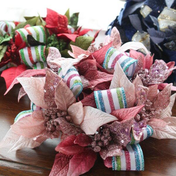 造花 キラキラポインセチアとリボンのミニリース クリスマス CT触媒
