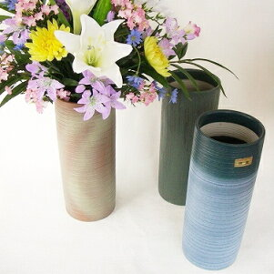 【Yam】四日市万古焼寸胴型花瓶10号