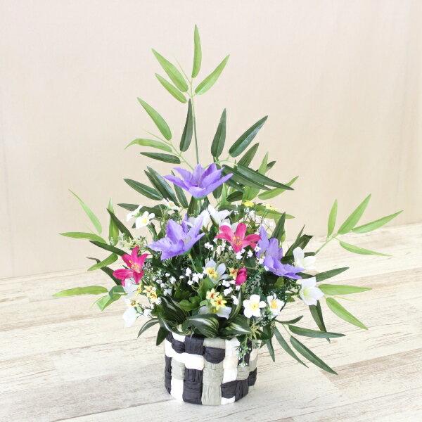 笹とクレマチスのアレンジ 七夕 造花 観葉植物 シルクフラワー CT触媒