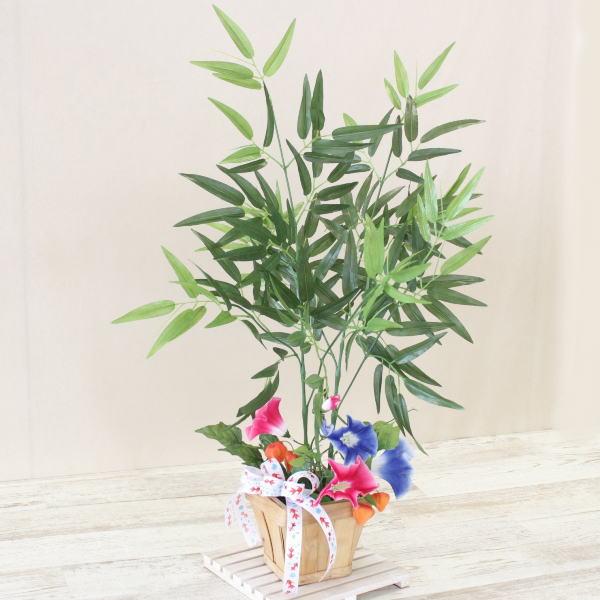 造花 笹竹と朝顔のアレンジ65 七夕 観葉植物 シルクフラワー CT触媒