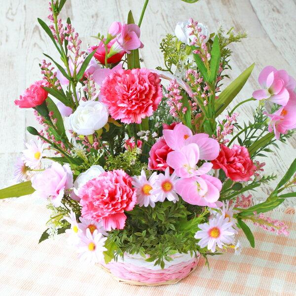 造花 ピンク色のデージーの風水のフラワーアレンジ 北 シルクフラワー CT触媒