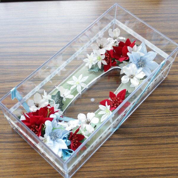 造花 ポインセチアとダイヤモンドミニフラワーの クリスマスクリスタルティッシュケース シルクフラワー CT触媒