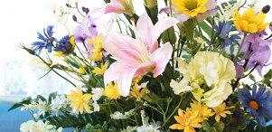 造花仏花ユリとオンシジウムのアレンジCT触媒造花シルクフラワーお彼岸お盆お仏壇仏花お墓花お供え