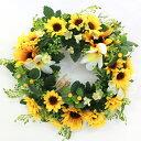 造花 ひまわりとプルメリアのリース壁掛け シルクフラワー 造花 ヒマワリ 向日葵 フェイク CT触媒