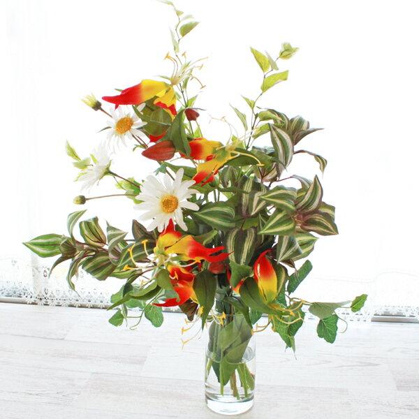 造花 グロリオサとデージーのマジカルウォーターアレンジ シルクフラワー CT触媒