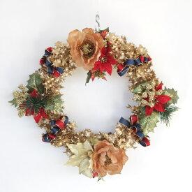 造花 ゴールドヒイラギのクリスマスリース ポインセチア CT触媒